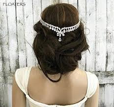 chain headpiece bridal chain headpiece zirconia headband goddess