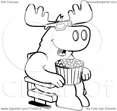 cartoon clipart of a black and white moose eating popcorn and