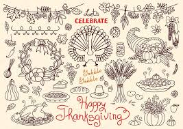lets celebrate happy thanksgiving doodles set traditional symbols
