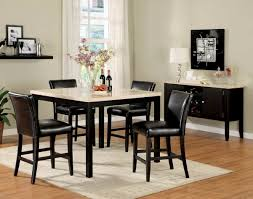 5pc black white faux marble top counter height dining set lowest