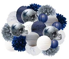 Dallas Cowboy Christmas Decorations Outdoor by Dallas Cowboys Accordion Lantern And Tissue Pom Giant Hanging