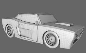 cartoon sports car black and white cartoon muscle car 3d cgtrader