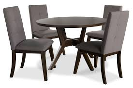 chelsea 5 piece round dining table package with brown chairs the