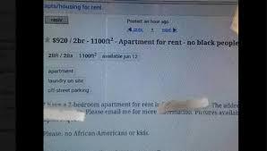 buffalo craigslist apartment ad specifies u0027no black people u0027