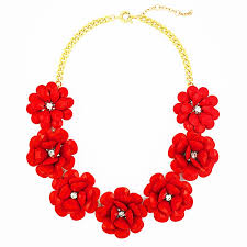 red necklace images Coral red rose necklace chunky bib necklace with beaded rosettes jpg