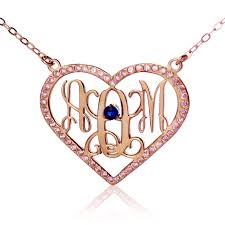 monogram necklaces gold heart birthstone monogram necklace