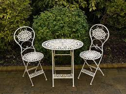 White Patio Furniture Folding Metal Garden Furniture 2 Chairs Oval Table Bistro Set