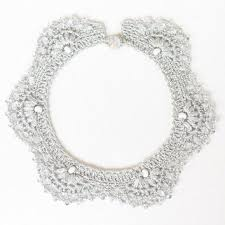 white collar necklace images Ooak crochet necklace in coral pink from 100crochetnecklaces on jpg