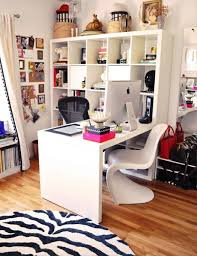 gorgeous white home office sets design using portable retractable