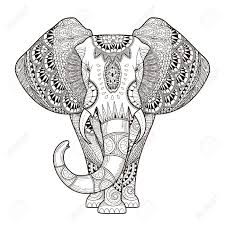 graceful elephant coloring page in exquisite style royalty free