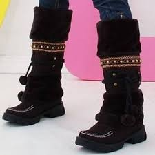 womens boots rubber sole winter warm fur knob rubber sole knee high boots winter
