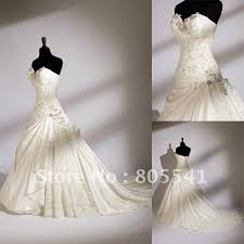 100 real photo gorgeous a line sweetheart satin cheap lace