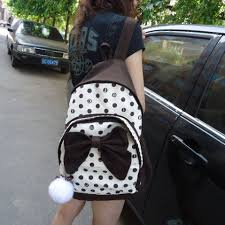 book bags with bows bagpack lace bookbag canvas polka dot printing backpack children