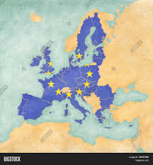 The Map Of Europe by European Union Flag Of Eu On The Map Of Europe The Map Is In
