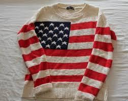American Flag Cardigan Sweater Cute Warm Cozy Vintage Oversized Oversized Jumper