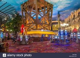 the interior of paris las vegas hotel and casino stock photo