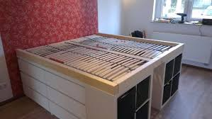 queen sizd loft bed with storage and steps ikea hacks