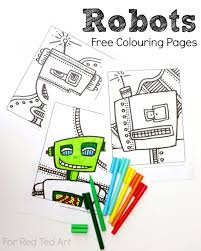 free robots colouring pages red ted art u0027s blog