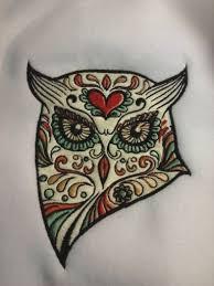 sugar skull owl machine embroidery design