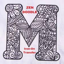 letter transfer iron heat press coloring zendoodle