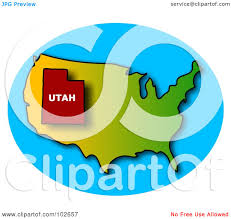 Utah On A Map Royalty Free Rf Clipart Illustration Of A Red Outline Of Utah On