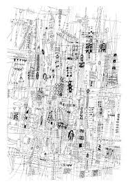 drawn line art city traffic pencil and in color drawn line art