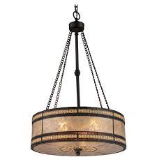 Drum Pendant Lighting Drum Pendant Light With Beige Mica Shade In Tiffany Bronze Finish