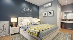bedroom color ideas blue and pink motif wall sofa bed white