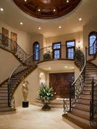 double staircase entry foyer houzz