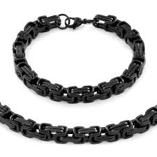 byzantine chain necklace images Men 39 s stainless steel byzantine chain necklace 24 quot and bracelet jpg