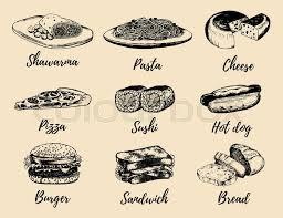 cuisine etc fast food sketches vector set international cuisine