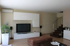 home design dark wood wall unit with cupboards and shelves