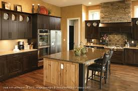 red kitchen interior design with brown oak cabinet using sand gray