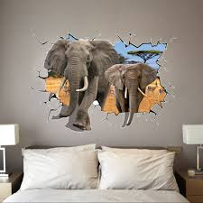 Rainforest Wall Stickers 8006 Selling Delicate African Animal Removable 3d Dual Elephant