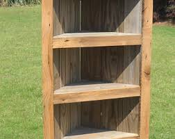 Wood Corner Bookcase Corner Bookcase Etsy