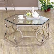 Chrome And Glass Sofa Table Furniture Of America Martello Contemporary Chrome Glass Top