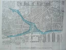 Liverpool England Map by Map Showing The Liverpool River Edge Before The Docks Liverpool