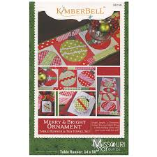 merry bright ornament table runner tea towel set pattern