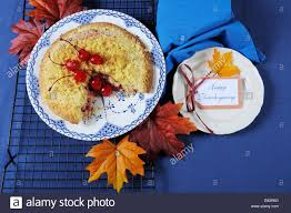 Thanksgiving Table Setting by Happy Thanksgiving Table Setting With Cherry Apple Crumble Pie On