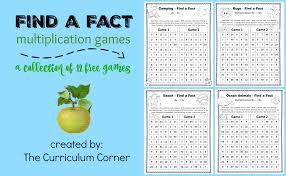 find a fact multiplication games the curriculum corner 123