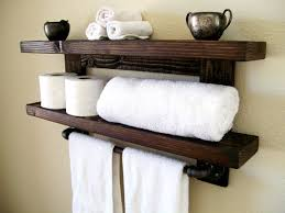 rustic wall shelf wood shelf floating shelves towel rack bathroom