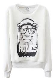wearing glasses lion print sweatshirt beautifulhalo com