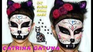 catrina gato mascara maquillaje sugar skull cat mask makeup