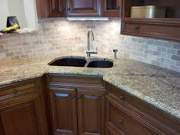 modern kitchen unfinished oak cabinets metal accent tile