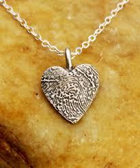 silver fine necklace images Small heart fingerprint necklace oxidized 999 fine silver jpg