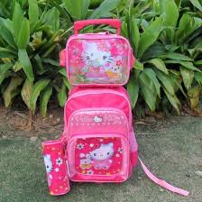 kitty mochilas kids cartoon trolley bag