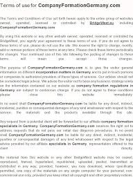 terms of use for companyformationgermany com