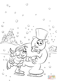 frosty and karen are ice skating on lake coloring page free