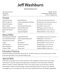 Free Sample Resume Format by Theatre Acting Sample Resume 10 Free Template Actor Talent