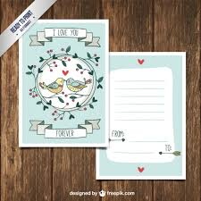 cute valentines day letter with hand drawn birds free vectors